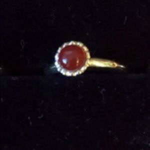 Beautiful Sterling Silver & Rose Plated Stone Ring